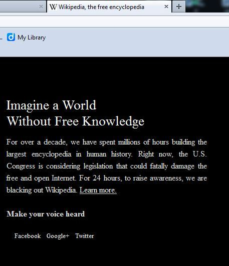 Stop SOPA and PIPA Wikipedia Screenshoot