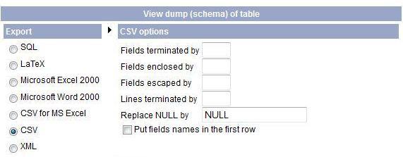 SQL-ի աշխատանքի արդյունքը, որպես CSV էքսպորտի կարգավորումներ