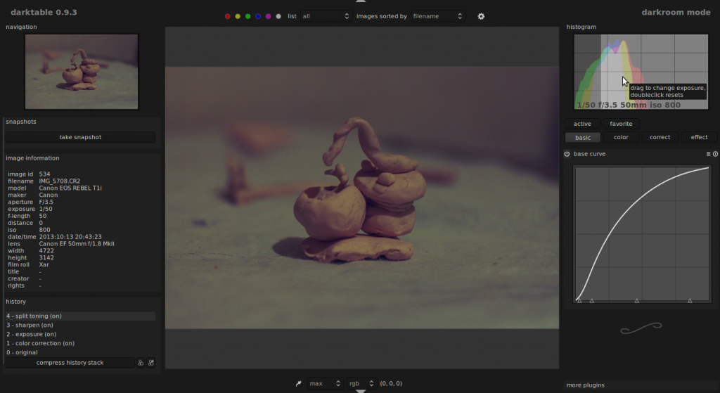 darktable darkroom mode screenshot